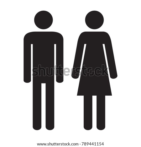 Man and woman icon isolated on the white background. Vector illustration.