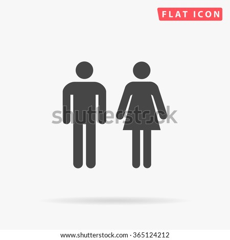 Man and Woman Icon Vector. Simple flat symbol. Perfect Black pictogram illustration on white background.