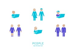 Man and woman - icons set on white background. Symbol for web, infographics, print design and mobile UX UI kit. Vector illustration, EPS10.