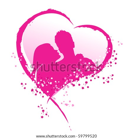 Man and woman in a pink heart.