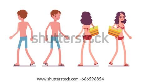 man and woman in beachwear