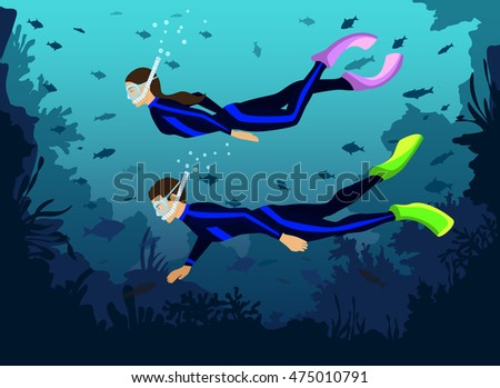 man and woman in diving