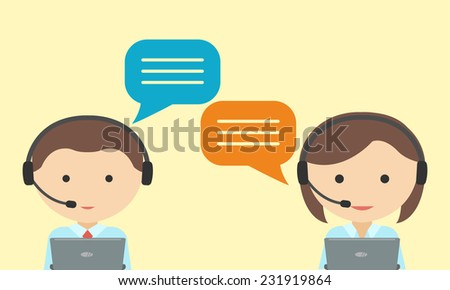 man and woman in headset call