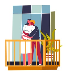Man and woman in love cuddling on balcony, husband and pregnant woman hugging outdoors. Parents to be, people in apartment. Family life and happiness for embracing couple. Vector in flat style
