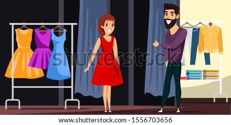 Man and woman in love shopping together cartoon. Happy young family at fashion boutique. Husband buying dress for loving wife. Clothing shop situation. People characters. Vector flat illustration