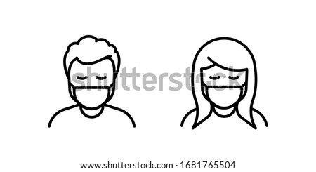 Man and Woman in medical face protection mask. Vector icon of people wearing protective surgical mask. illustration for concepts of disease, coronavirus, quarantine, social distancing