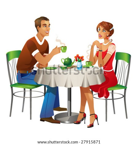 Man and woman in red dress are sitting in cafe, vector file.