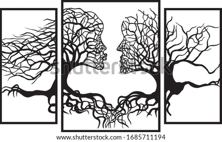 man and woman in the form of a tree with roots Foto stock ©