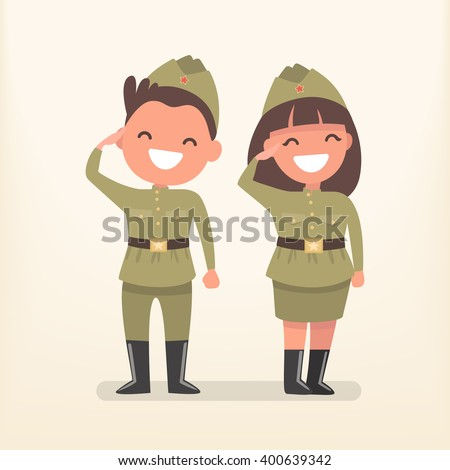 man and woman in uniform of the