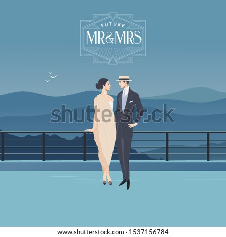 Man and Woman in Vintage Outfit standing on a Bridge. Mountain Landscape Background. Wedding and Romance Concept