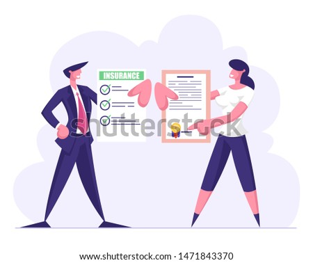 Man and Woman Insurance Certificates with Green Check Marks and Seal Stamp. Protection of Health and Property Interests of Individual and Legal Entities Insured Events Cartoon Flat Vector Illustration