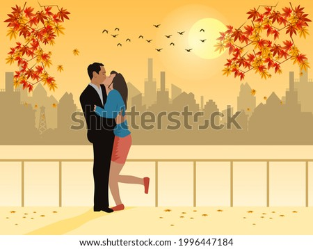man and woman kissing in a