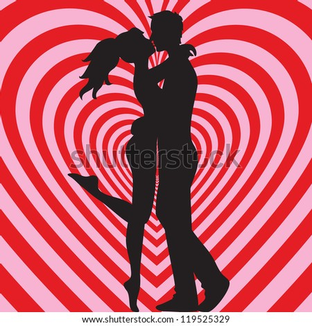 Man and woman kissing on heart pink and red background
