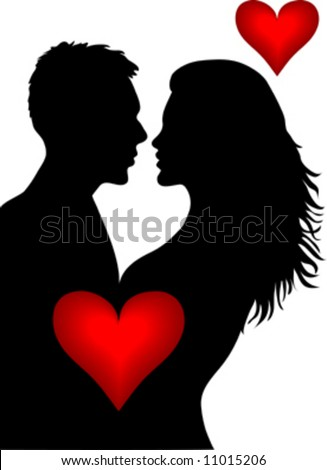 man and woman kissing on white background