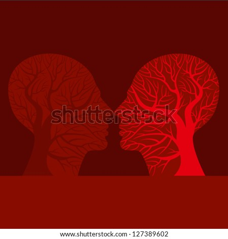 Man and woman kissing silhouette - vector