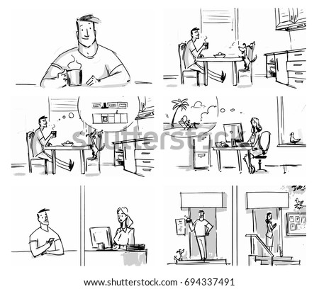 Man and woman lifestyle concept set for storyboard, cartoon, projects Vector illustration
