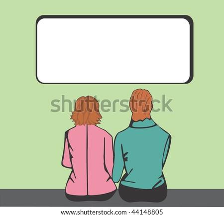 Man and woman looking at screen - stock vector