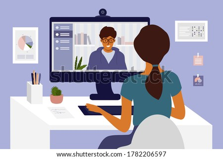 Man and woman make video call. Hiring, job interview, employment. Team work, partners talk, networking or conference by computer. Online courses, studying or education. Home office vector illustration
