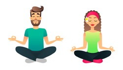 Man and woman meditate in lotus pose. Cartoon happy married couple practicing yoga lesson. Young vector people doing yoga asane. Mental health concept.