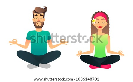 man and woman meditate in lotus