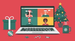man and woman meeting online together via video conference on a laptop to virtual discussion on Christmas holiday and decorate with Christmas tree, gift, candy, and cup, flat vector illustration