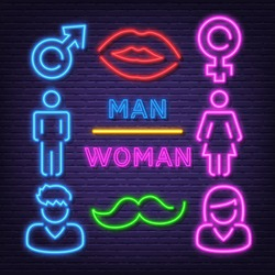 man and woman neon icons, vector neon glow on dark background
