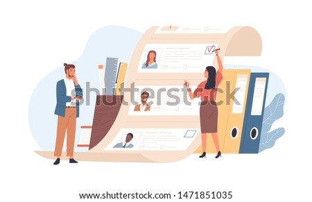 Man and woman office workers standing in front of list of job applicants. Concept of choice of worker or personnel, staff recruitment or employee hiring. Flat cartoon colorful vector illustration.