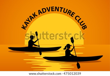 Man And Woman Paddling In Kayaks At Sunset Silhouette Vector Illustration