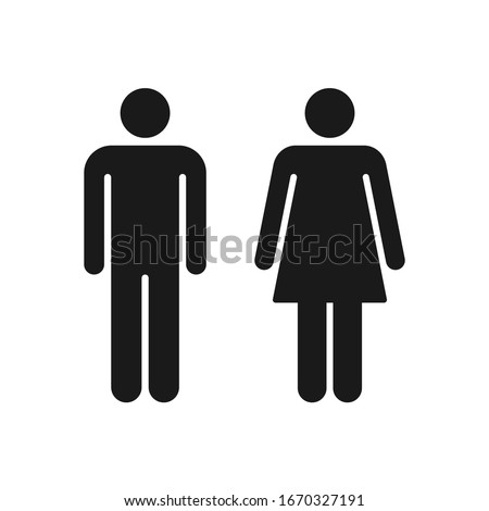 Man and woman person avatar icon set. Male and female gender profile  symbol. Men and women wc logo. Toilet and bathroom sign. Black silhouette isolated on white background. Vector illustration image.