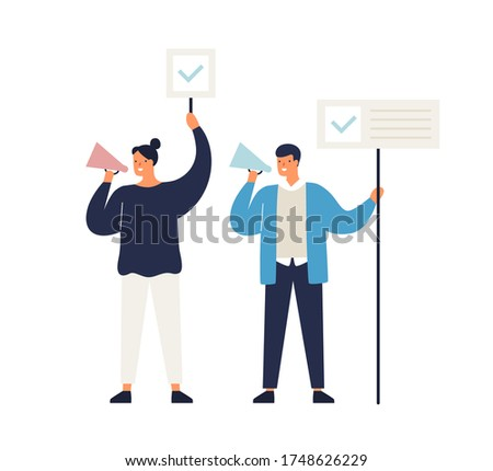 Man and woman political agitators with megaphone and banners vector flat illustration. Active people on demonstration shouting with loud speakers isolated on white. Agitation campaign