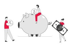 Man and Woman Put Golden Coin and Dollar Banknote into Piggy Bank. People Saving and Collect Money in Thrift-box, Open Bank Deposit. Family Finance Budget. Cartoon Flat Vector Illustration, Line Art