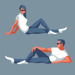 Man and woman reclining in sportswear. Vector illustration