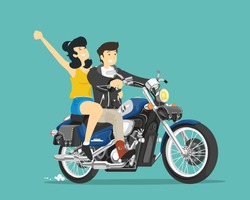 Man and woman ride on motorcycle. Vector illustration.