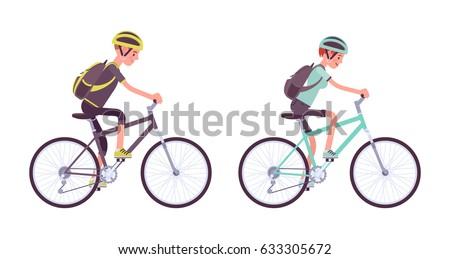 Man and woman riding a sport bike, wearing helmet and backpack, active lifestyle, mountain and road fun, family workout, vector flat style cartoon illustration, isolated on white background, side view