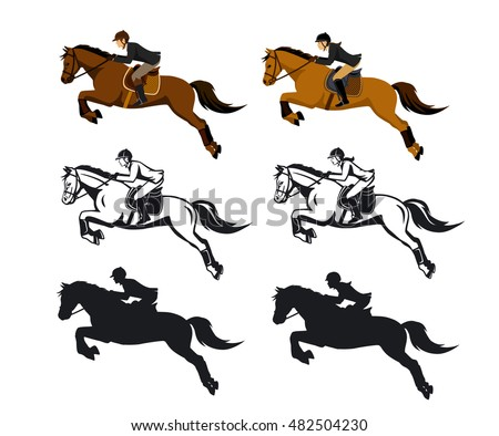 Man And Woman Riding Jumping Horse Set In Color SIlhouette Contour Isolated Vector