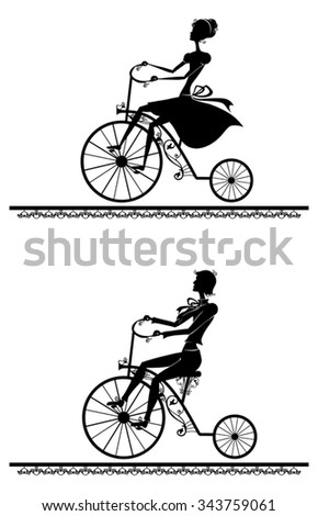 man and woman riding on a retro