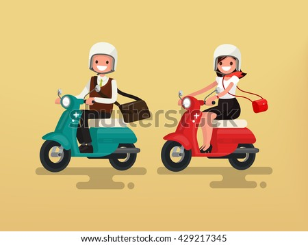 man and woman riding on their