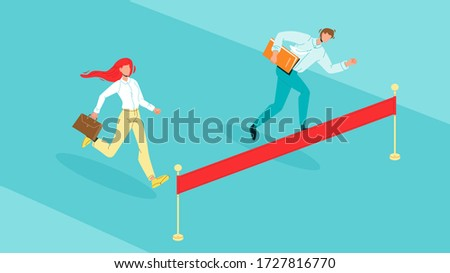 Man And Woman Rivals Running Vector. Businessman And Businesswoman Rivals Run To Finish Red Ribbon. Business People Challenge And Competition Or Contest Flat Cartoon Illustration Foto stock ©
