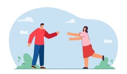 Man and woman running towards each other. Couple of male and female characters greeting flat vector illustration. Meeting of friends, love concept for banner, website design or landing web page
