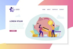 Man and Woman Save Money in Bank and Piggy Bank. Concept for Buying Home. Credit Project. Vector Illustration. Сoin and Card. White Background and Logo. Add Coin to Piggy Bank. Conclude Agreement.