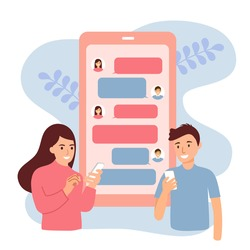 Man and woman sending message in mobile app. Long distance relationship between friends, loving couple or marriage husband and wife. Online chat on smartphone via internet