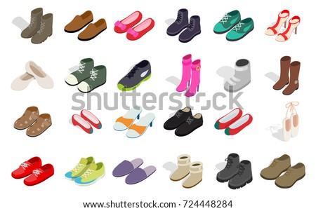 Man and woman shoes icon set. Isometric set of man and woman shoes vector icons for web isolated on white background ストックフォト ©