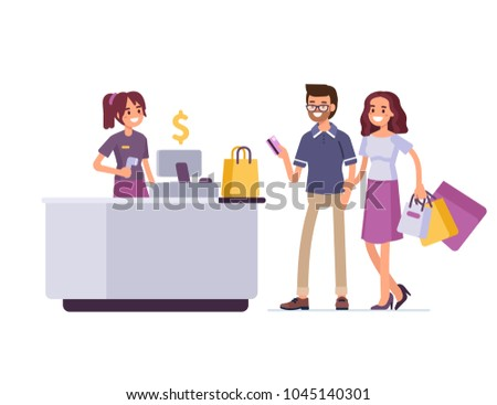 Man and woman shopping in cloth store and paying with card. Flat style vector illustration isolated on white background.