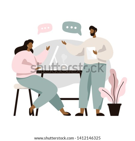 Man and woman sitting at table and discussing ideas, exchanging information, solving problems. Brainstorm or discussion. Teamwork. Vector illustration in flat style.