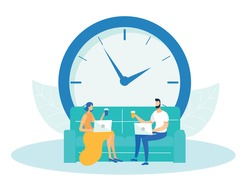 Man and Woman Sitting on Couch or Sofa and Working on Laptop Flat Cartoon Vector Illustration. Collegues Drinking Takeaway Coffee with Huge Clock on Background. Deadline Concept. Time Menagement.