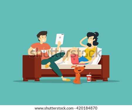 Man and woman sitting on the couch with devices. Vector illustration.