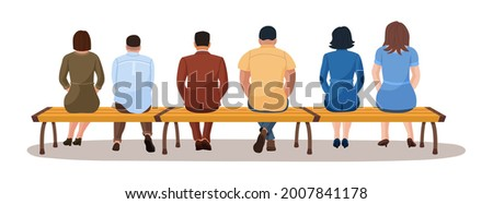 Man and woman sitting together on bench view from back. Group of different young adult people character rest on park seat sitting in row waiting public transport vector illustration isolate on white Foto stock ©