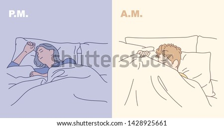 Man and woman sleeping pose by time. A deep sleeping woman and a man who does not want to wake up. hand drawn style vector design illustrations.