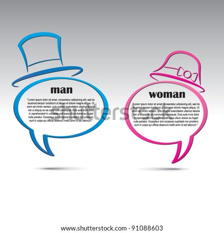 Man and woman speech bubbles. Abstract vector background.