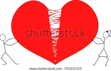 Stock Photo man and woman stick figures tearing hart apart / red broken hart